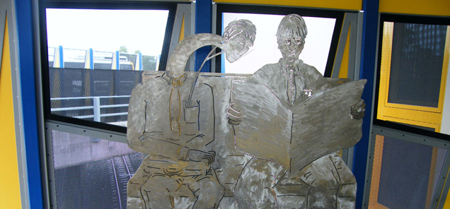 The Commuters - stainless steel sculpture by Antone Bruinsma at Indooroopilly Railway Station