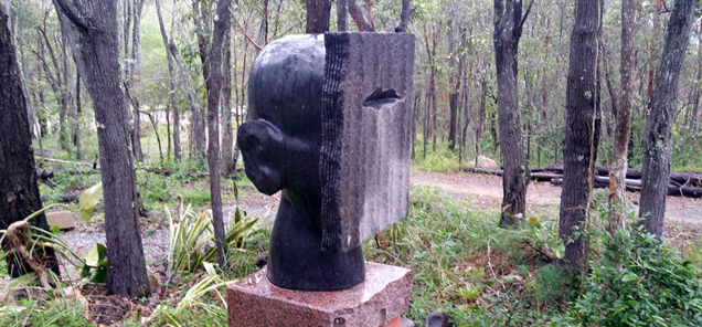 Gnosis - by Antone Bruinsma sculpture - black granite