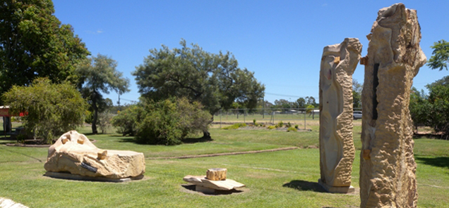 The Fossilised Forest of Alpha - sculpture grouping by Antone Bruinsma - public art at Alpha, Queensland